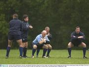 9 October 2003; Ireland players, from left, Alan Quinlan, Shane Byrne, Keith Wood, Peter Stringer and Anthony Foley go through some warm-up exercises during squad training. 2003 Rugby World Cup, Irish squad training, Central Coast Grammar School, Terrigal, New South Wales, Australia. Picture credit; Brendan Moran / SPORTSFILE *EDI*
