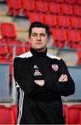 7 February 2019; Manager Declan Devine during Derry City squad portraits at the Ryan McBride Brandywell Stadium in Derry. Photo by Oliver McVeigh/Sportsfile