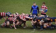 10 February 2019; Referee Tomás Treacy sets a scrum during the Bank of Ireland Provincial Towns Cup Round 2 match between Skerries RFC and Enniscorthy RFC at Skerries RFC in Skerries, Dublin. Photo by Brendan Moran/Sportsfile