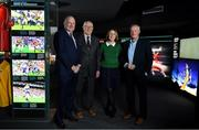 12 February 2019; The GAA, in conjunction with the Broadcasting Authority of Ireland, today launched the GAA Digital Archive at Croke Park providing free access to past GAA matches to internet users around the world. 113 All-Ireland finals since 1961 are included in the archive and provincial finals from 1961 also feature. The new archive also includes All-Ireland club finals since 1989. In all, over 500 football and hurling matches were retrieved from broadcasters and information such as date, result, venue, referee, scorers and teams and substitutions was added. The establishment of the archive, which received financial backing from the BAI, means that for the first time the GAA has a central repository of the majority of finals that were recorded and broadcast over the last six decades. Pictured are, from left,  Uachtaráin Cumann Lúthchleas Gael John Horan, former Dublin goalkeeper Paddy Cullen, Elizabeth Farrelly, manager of the BAI archiving scheme, and former Kerry footballer and selector Mikey Sheehy during the launch of the GAA Digital Archive at Croke Park in Dublin. Photo by Brendan Moran/Sportsfile
