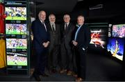 12 February 2019; The GAA, in conjunction with the Broadcasting Authority of Ireland, today launched the GAA Digital Archive at Croke Park providing free access to past GAA matches to internet users around the world. 113 All-Ireland finals since 1961 are included in the archive and provincial finals from 1961 also feature. The new archive also includes All-Ireland club finals since 1989. In all, over 500 football and hurling matches were retrieved from broadcasters and information such as date, result, venue, referee, scorers and teams and substitutions was added. The establishment of the archive, which received financial backing from the BAI, means that for the first time the GAA has a central repository of the majority of finals that were recorded and broadcast over the last six decades. Pictured are, from left,  Uachtaráin Cumann Lúthchleas Gael John Horan, Prof Pauric Travers, Chairperson of the BAI, former Dublin goalkeeper Paddy Cullen and former Kerry footballer and selector Mikey Sheehy during the launch of the GAA Digital Archive at Croke Park in Dublin. Photo by Brendan Moran/Sportsfile