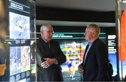 12 February 2019; The GAA, in conjunction with the Broadcasting Authority of Ireland, today launched the GAA Digital Archive at Croke Park providing free access to past GAA matches to internet users around the world. 113 All-Ireland finals since 1961 are included in the archive and provincial finals from 1961 also feature. The new archive also includes All-Ireland club finals since 1989. In all, over 500 football and hurling matches were retrieved from broadcasters and information such as date, result, venue, referee, scorers and teams and substitutions was added. The establishment of the archive, which received financial backing from the BAI, means that for the first time the GAA has a central repository of the majority of finals that were recorded and broadcast over the last six decades. Pictured are former Dublin goalkeeper Paddy Cullen, left, and former Kerry footballer and selector Mikey Sheehy during the launch of the GAA Digital Archive at Croke Park in Dublin. Photo by Brendan Moran/Sportsfile