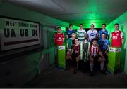 12 February 2019; SSE Airtricity League Premier Division players, from left, Ronan Murray of Sligo Rovers, Matthew Connor of Waterford FC, Colm Horgan of Cork City, seated, Keith Buckley of Bohemians, seated, Sam Verdon of Finn Harps, Brian Gartland of Dundalk, Barry McNamee of Derry City, seated, Gary O'Neill of UCD, seated, Sean Boyd of Shamrock Rovers and Ian Bermingham of St. Patrick's Athletic during the launch of the 2019 SSE Airtricity League season at the Aviva Stadium, Lansdowne Road in Dublin. Photo by Stephen McCarthy/Sportsfile