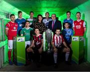 12 February 2019; Áine Plunkett, Lead Marketing Manager with SSE Airtricity, and Fran Gavin, FAI Director of Competitions, with SSE Airtricity League Premier Division players, from left, Ronan Murray of Sligo Rovers, Matthew Connor of Waterford FC, Colm Horgan of Cork City, seated, Sean Boyd of Shamrock Rovers, Keith Buckley of Bohemians, seated, Brian Gartland of Dundalk, Barry McNamee of Derry City, seated, Gary O'Neill of UCD, Sam Verdon of Finn Harps and Ian Bermingham of St. Patrick's Athletic during the launch of the 2019 SSE Airtricity League season at the Aviva Stadium, Lansdowne Road in Dublin. Photo by Stephen McCarthy/Sportsfile
