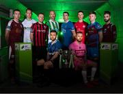 12 February 2019; SSE Airtricity League First Division players, from left, Stephen Walsh of Galway United, Jack Tuite of Cabinteely, Dean Zambra of Longford Town, Paul Keegan of Bray Wanderers, Aaron Brilly of Athlone Town, seated, Shaun Kelly of Limerick FC, Jack Doherty of Wexford FC, seated, Luke Byrne of Shelbourne, Conor Kane of Drogheda United, and Nathan West of Cobh Ramblers during the launch of the 2019 SSE Airtricity League season at the Aviva Stadium, Lansdowne Road in Dublin. Photo by Stephen McCarthy/Sportsfile