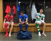 12 February 2019; Luke Byrne of Shelbourne, left, and Shaun Kelly of Limerick, centre, of the SSE Airtricity League First Division and SSE Airtricity League Premier Division player Sean Boyd of Shamrock Rovers, right, during the launch of the 2019 SSE Airtricity League season at the Aviva Stadium, Lansdowne Road in Dublin. Photo by Stephen McCarthy/Sportsfile