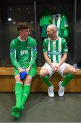 12 February 2019; Matthew Connor of Waterford FC and Paul Keegan of Bray Wanderers, right, during the launch of the 2019 SSE Airtricity League season at the Aviva Stadium, Lansdowne Road in Dublin. Photo by Stephen McCarthy/Sportsfile
