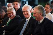 12 February 2019; Republic of Ireland manager Mick McCarthy, centre, with FAI Chief Executive John Delaney, right, and FAI Vice President Noel Fitzroy, left, during the launch of the 2019 SSE Airtricity League season at the Aviva Stadium, Lansdowne Road in Dublin. Photo by Stephen McCarthy/Sportsfile