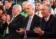 12 February 2019; Republic of Ireland manager Mick McCarthy and FAI Cheif Executive John Delaney, right, during the launch of the 2019 SSE Airtricity League season at the Aviva Stadium, Lansdowne Road in Dublin. Photo by Stephen McCarthy/Sportsfile