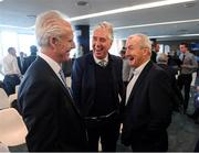 12 February 2019; Cork City manager John Caulfield, right, and Republic of Ireland manager Mick McCarthy, left, and FAI Chief Executive John Delaney during the launch of the 2019 SSE Airtricity League season at the Aviva Stadium, Lansdowne Road in Dublin. Photo by Stephen McCarthy/Sportsfile