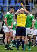 12 February 2019; Jack Coolican of Gonzaga College is shown a yellow card by referee Cillian Hogan during the Bank of Ireland Leinster Schools Senior Cup Round 2 match between Gonzaga College and Terenure College at Energia Park in Donnybrook, Dublin.  Photo by Brendan Moran/Sportsfile