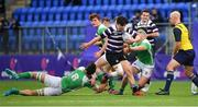 12 February 2019; Conor McElwaine of Terenure College is tackled by Jack Barry of Gonzaga College during the Bank of Ireland Leinster Schools Senior Cup Round 2 match between Gonzaga College and Terenure College at Energia Park in Donnybrook, Dublin.  Photo by Brendan Moran/Sportsfile