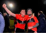 12 February 2019; Conor Browne, left, and Shane Conway of UCC celebrate following the Electric Ireland Fitzgibbon Cup Semi-Final match between University College Cork and DCU Dóchas Éireann at the WIT Sports Campus in Carriganore, Waterford. Photo by Harry Murphy/Sportsfile