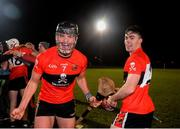 12 February 2019; Paddy O'Loughlin, left, and David Lowney of UCC celebrate following the Electric Ireland Fitzgibbon Cup Semi-Final match between University College Cork and DCU Dóchas Éireann at the WIT Sports Campus in Carriganore, Waterford. Photo by Harry Murphy/Sportsfile