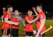 12 February 2019; Eddie Gunning of UCC, centre, celebrates with teammates following the Electric Ireland Fitzgibbon Cup Semi-Final match between University College Cork and DCU Dóchas Éireann at the WIT Sports Campus in Carriganore, Waterford. Photo by Harry Murphy/Sportsfile