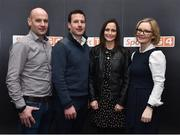 13 February 2019; Former Limerick hurler Andrew O'Shaughnessy, second from left, with his wife Eimear, second from right, brother Bryan and sister-in-law Avril in attendance at the Laochra Gael Launch at the Dean Hotel in Dublin. Photo by Matt Browne/Sportsfile