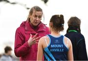 13 February 2019; Maria McCambridge, left, former Ireland Olympian in conversation with second place Amy Rose Farrell of Mount Anville, Goatstown, Co. Dublin, following the Senior Girls 2500m during the Irish Life Health Leinster Schools Cross Country at Santry Demesne in Co. Dublin. Photo by Seb Daly/Sportsfile