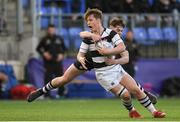 13 February 2019; John Meagher of Belvedere College is tackled by David O'Sullivan of Newbridge College during the Bank of Ireland Leinster Schools Senior Cup Round 2 match between Belvedere College and Newbridge College at Energia Park in Donnybrook, Dublin.  Photo by Eóin Noonan/Sportsfile