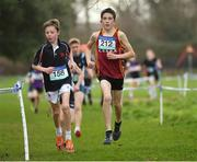 13 February 2019; Eventual second place Jamie Byrne of Wesley College, Ballinteer, Dublin, left, and eventual winner Billy Coogan of Kilkenny CBS, Co. Kilkenny, right, competing in the Minor Boys 2000m during the Irish Life Health Leinster Schools Cross Country at Santry Demesne in Co. Dublin. Photo by Seb Daly/Sportsfile