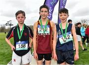 13 February 2019; First place Billy Coogan of Kilkenny CBS, Co. Kilkenny, centre, second place Jamie Byrne of Wesley College, Ballinteer, Dublin, left, and third place Mackenzie McIvor of Knockbeg College, Co. Carlow, following the Minor Boys 2000m during the Irish Life Health Leinster Schools Cross Country at Santry Demesne in Co. Dublin. Photo by Seb Daly/Sportsfile