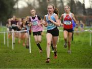 13 February 2019; Hannah Kehoe of Loreto Kilkenny, Co. Kilkenny, on her way to winning the Junior Girls 2000m during the Irish Life Health Leinster Schools Cross Country at Santry Demesne in Co. Dublin. Photo by Seb Daly/Sportsfile