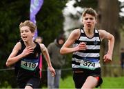 13 February 2019; Third place Tom Lodge, right, of St Kieran's Kilkenny, Co. Kilkenny, and fourth place Sean Quinn of Terenure College, Dublin, during the Junior Boys 3000m during the Irish Life Health Leinster Schools Cross Country at Santry Demesne in Co. Dublin. Photo by Seb Daly/Sportsfile