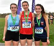 13 February 2019; First place Roisin O'Reilly of Loreto Wexford, Co. Wexford, centre, second place Hannah O'Keefe of Loreto Kilkenny, Co. Kilkenny, left, and third place Holly Brennan of Sacred Heart Drogheda, Co. Louth, following the Intermediate Girls 3500m during the Irish Life Health Leinster Schools Cross Country at Santry Demesne in Co. Dublin. Photo by Seb Daly/Sportsfile