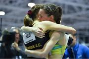 13 February 2019; Ciara Mageean of Ireland celebrates her new indoor Irish record, of 4:06.78 sec, with Sarah Healy of Ireland, left, during the TG4 Women's 1500m at the AIT International Grand Prix 2019 in the Athlone Institute of Technology in Westmeath.  Photo by Brendan Moran/Sportsfile