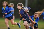 13 February 2019; Sinéad Hogg of UL is tackled by Louise McCleary of DCU during the Kay Bowen Women's Senior Cup match between DCU and UL at MU Barnhall RFC in Leixlip, Kildare. Photo by Piaras Ó Mídheach/Sportsfile