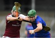 14 February 2019; David Prendergast of Mary Immaculate College is tackled by Evan Niland of NUI Galway during the Electric Ireland Fitzgibbon Cup Semi-Final match between National University of Ireland Galway and Mary Immaculate College Limerick at Cusack Park in Ennis, Clare. Photo by Eóin Noonan/Sportsfile