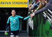 15 February 2019; Joey Carbery meets supporters prior to an Ireland rugby open training session at the Aviva Stadium in Dublin. Photo by Seb Daly/Sportsfile