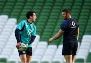 15 February 2019; Joey Carbery, left, and Sean O'Brien during an Ireland rugby open training session at the Aviva Stadium in Dublin. Photo by Seb Daly/Sportsfile