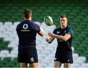 15 February 2019; Josh van der Flier, right, and Sean O'Brien during an Ireland rugby open training session at the Aviva Stadium in Dublin. Photo by Seb Daly/Sportsfile