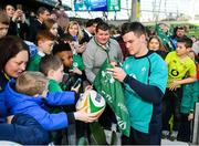 15 February 2019; Jonathan Sexton meets supporters following an Ireland rugby open training session at the Aviva Stadium in Dublin. Photo by Seb Daly/Sportsfile
