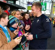 15 February 2019; Keith Earls meets supporters following an Ireland rugby open training session at the Aviva Stadium in Dublin. Photo by Seb Daly/Sportsfile