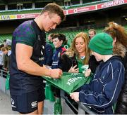 15 February 2019; Josh van der Flier meets supporters following an Ireland rugby open training session at the Aviva Stadium in Dublin. Photo by Seb Daly/Sportsfile