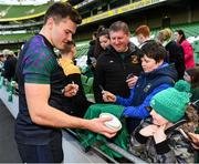 15 February 2019; Jacob Stockdale meets supporters following an Ireland rugby open training session at the Aviva Stadium in Dublin. Photo by Seb Daly/Sportsfile