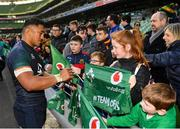 15 February 2019; Bundee Aki meets supporters following an Ireland rugby open training session at the Aviva Stadium in Dublin. Photo by Seb Daly/Sportsfile