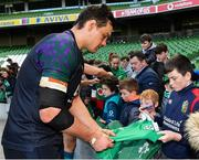 15 February 2019; Quinn Roux meets supporters following an Ireland rugby open training session at the Aviva Stadium in Dublin. Photo by Seb Daly/Sportsfile