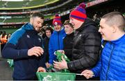 15 February 2019; Robbie Henshaw meets supporters following an Ireland rugby open training session at the Aviva Stadium in Dublin. Photo by Seb Daly/Sportsfile