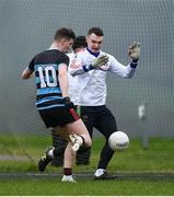 15 February 2019; Lyndon Brown of SRC scores his side's first goal past Mary I Thurles goalkeeper Diarmuid Quirke during the Electric Ireland HE GAA Corn Comhairle Ardoideachais Final match between Southern Regional College and Mary Immaculate College, Thurles, at Mallow GAA Sports Comlpex in Cork. Photo by Diarmuid Greene/Sportsfile
