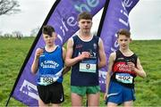 15 February 2019; Tadhg Connolly, centre, from Abbey Community College, Waterford, who won the Junior Boys 3500m from second place Niall Murphy,left, from St. Flannan's College, Ennis, and third place Tommy Fennelly from St Augustine's College, Dungarvan, during the Irish Life Health Munster Schools Cross Country event at WIT Sports Campus in Carrignore, Waterford. Photo by Matt Browne/Sportsfile