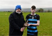 15 February 2019; Michael McMahon, Vice Chairman, GAA Higher Education, presents Dean Rice of SRC with the Player of the Match award following the Electric Ireland HE GAA Corn Comhairle Ardoideachais Final match between Southern Regional College and Mary I Thurles at Mallow GAA in Cork. Follow and be a part of the conversation around the Electric Ireland Higher Education Championships on social media using the hashtag #FirstClassRivals and follow @ElectricIreland for updates, streaming, match commentary and highlights. Photo by Diarmuid Greene/Sportsfile