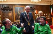 15 February 2019; Lord Mayor of Dublin Nial Ring today met Dublin athletes as they prepare to represent Ireland at the World Summer Games in Abu Dhabi in 2019 at Mansion House in Dublin. Pictured is Oisín Gilmartin, from left, and Jamie Ennis, both from Dublin, with Karen Coventry, Special Olympics Director of Sport with Lord Mayor of Dublin Nial Ring. Photo by Piaras Ó Mídheach/Sportsfile