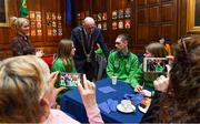 15 February 2019; Lord Mayor of Dublin Nial Ring today met Dublin athletes as they prepare to represent Ireland at the World Summer Games in Abu Dhabi in 2019 at Mansion House in Dublin. Pictured are athletes, from left, Emma Johnstone, Jack McFadden, and Edel Armstrong, all from Dublin, with Karen Coventry, Special Olympics Director of Sport with Lord Mayor of Dublin Nial Ring. Photo by Piaras Ó Mídheach/Sportsfile