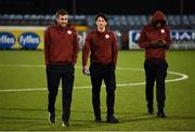 15 February 2019; Sligo Rovers players, from left, Lewis Banks, new signing Ronan Coughlan and Romeo Parkes walk the pitch prior to the SSE Airtricity League Premier Division match between Dundalk and Sligo Rovers at Oriel Park in Dundalk, Louth. Photo by Ben McShane/Sportsfile