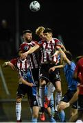 15 February 2019; Patrick McClean, left, and Eoin Toal of Derry City in action against Liam Scales of UCD  during the SSE Airtricity League Premier Division match between Derry City and UCD at the Ryan McBride Brandywell Stadium in Derry. Photo by Oliver McVeigh/Sportsfile
