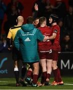 15 February 2019; Andrew Conway of Munster is congratulated by team-mates Rhys Marshall, Rory Scannell and Tyler Bleyendaal after scoring his side's second try during the Guinness PRO14 Round 15 match between Munster and Southern Kings at Irish Independent Park in Cork. Photo by Diarmuid Greene/Sportsfile