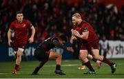15 February 2019; Jeremy Loughman of Munster is tackled by Berton Klaasen of Southern Kings during the Guinness PRO14 Round 15 match between Munster and Southern Kings at Irish Independent Park in Cork. Photo by Diarmuid Greene/Sportsfile