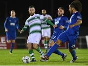 15 February 2019; Jack Byrne of Shamrock Rovers  in action against Shane Duggan and Bastien Hery, right, of Waterford during the SSE Airtricity League Premier Division match between Waterford and Shamrock Rovers at the RSC in Waterford. Photo by Matt Browne/Sportsfile